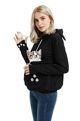 Womens Pet Carrier Shirts Kitten Puppy Holder Sweatshirt Animal Pouch Hood Tops Black -