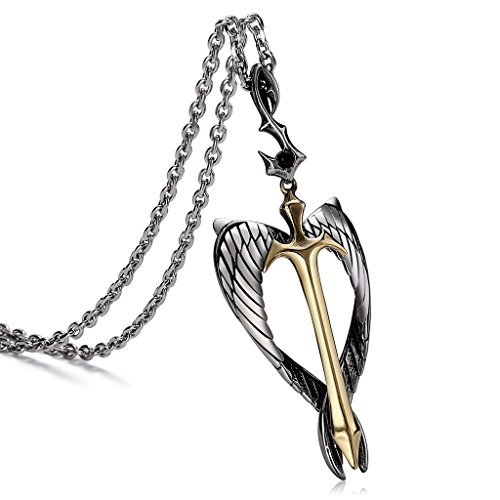 Aienid Sterling Silver Cubic Zirconia Angel Open Heart Pendant Necklace for Women