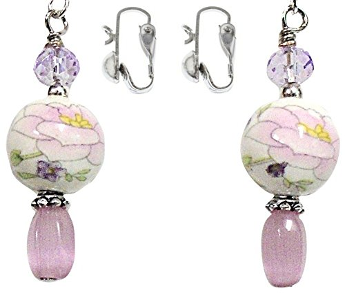 Pink Camellia & Purple Flower Ceramic & Cats Eye Bead Silver Colored Earring Set (3. CLIP - Ceramic Earrings Set