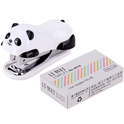 BinaryABC Mini Panda Staplers Set, Mini Desktop Stapler,Home Stapler with 1000 Staples by BinaryABC