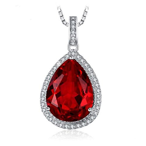 VERA NOVA JEWELRY Luscious 12.58Ct Red Synthetic Ruby Pear-Shape Sterling Silver Pendant Necklace with 18-inch Box Chain