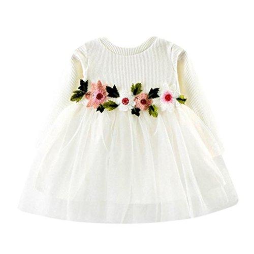Children Baby Girls Floral Dress, Flower Printing Tutu Party Wedding Birthday Princess Long Sleeve Mesh Dresses (White, 12-18 Months)