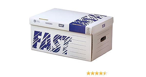 CAJON FAST-PAPERFLOW CARTON PARA 6 CAJAS ARCHIVO DEFINITIVO CON LOMO 8 CM DIN A4 PACK DE 5 UNIDADES: Amazon.es: Oficina y papelería