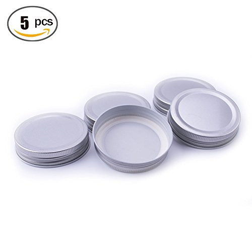 LKXC Mason Jar One-Piece Silver Metal Lids Storage Solid Caps (5 Pack) (Wide Mouth Lid One Piece compare prices)