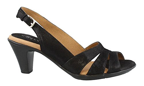 Comfortiva Neima - Soft Spots Black Mini Dot Suede Women's Dress Sandals