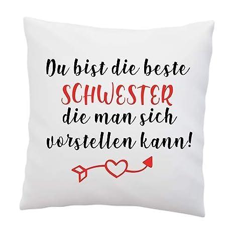 Liebtastisch Amor Almohada con Texto en alemán Hermana, Que ...