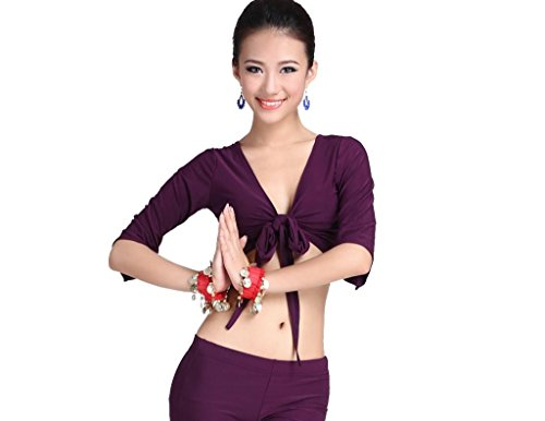 ZLTdream Women's Belly Dance Bandage Crystal Cotton Half Sleeve Top Purple