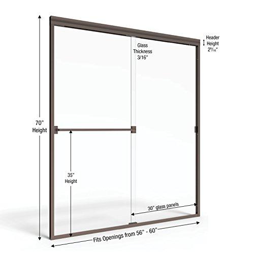"""Basco Classic 56"""" 60"""" Frameless Glass Door 3/16"""" oil rubbed finish 70"""""""