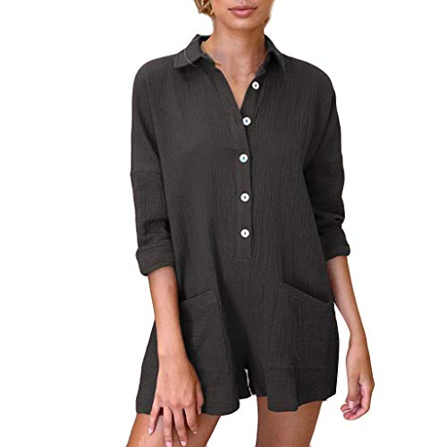 Aniywn Womens Casual Loose Long Sleeve Blouse Pocket Button Down Shirts Tops Jumpsuits Romper Black