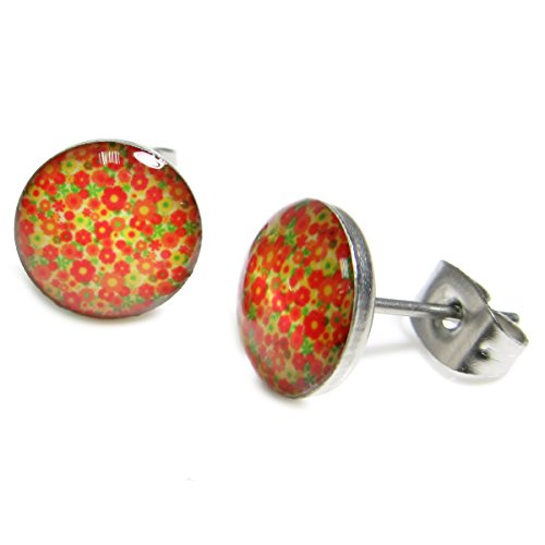 Shrub Costume (Pair Stainless Steel Orange Flower Shrubs Bush Post Stud Earrings 10mm)