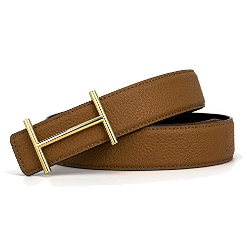 XiaoStone Mens Genuine Leather H Smooth Buckle Litchi Grain Leather Belt
