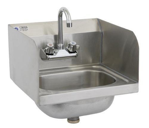 Royal Industries Commercial-Restaurant Wall-Mounted Hand Sink w/ Faucet and Splash guard 15