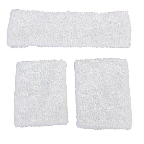 TOOGOO(R) 1x Bandeau et 2x Bracelets Elastiques pour les Sports - Blanc