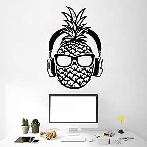 XCSJX Creativo Piña DJ Vinilo Tatuajes de Pared Auriculares Gafas ...