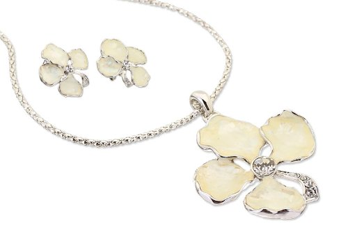 Mother of Pearl & Swarovski Crystals Jewellery Set. Large 4 Leaf Clover Pendant and Matching Earrings, Perfect Gift, Good Luck Charm. Available in Silver Rhodium and 14K Gold Plating