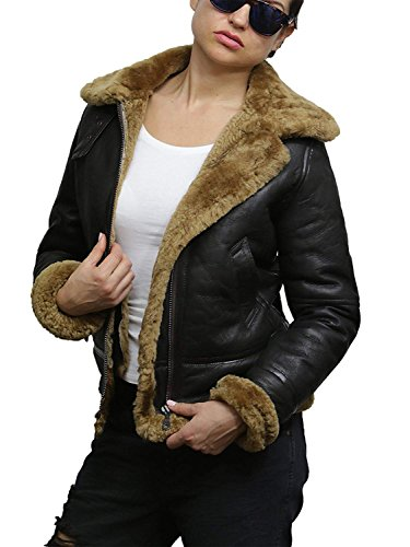 Ladies Women's Hooded Aviator Real Shearling Sheepskin Flying Leather Jacket Coat (X-Large 14) Brown
