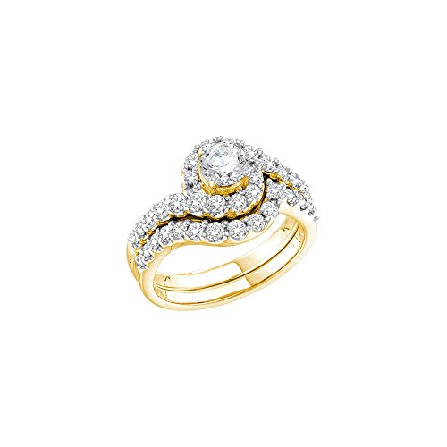 Ring Diamond 14kt Brilliant Gold (14kt Yellow Gold Womens Round Diamond Bridal Wedding Engagement Ring Band Set 1-3/8 Cttw)