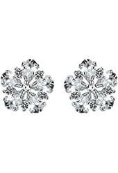 Frozen Flower Stud Earrings with Cubic Zirconia and Platinum Plated Beautiful Gift