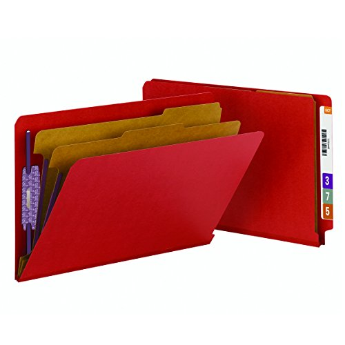 - Smead End Tab Pressboard Classification File Folder with SafeSHIELD Fasteners, 2 Dividers, 2
