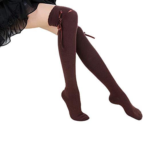 URIBAKE Women New Over Knee Socks Thigh High Cotton Stocking Long Knittd Boot Hosiery
