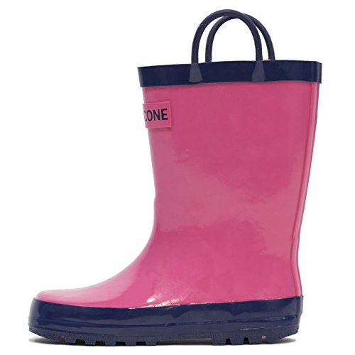 LONECONE Rain Boots Easy-On Handles Toddlers Kids, Bubblegum Pink, Toddler 6