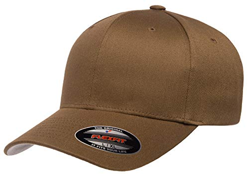 Flexfit Men's Athletic Baseball Fitted Cap, Coyote Brown, S/M