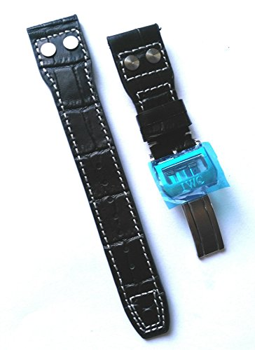 Black 22mm Alligator Grain Leather Watch Strap Band OEM style for IWC PILOT Watch