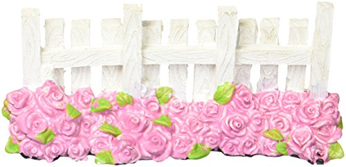 Darice 30000842 Miniature Fairy Garden Fence-White with Rose Bed by Darice