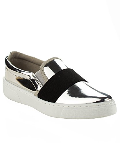 Women's Slip on Fashion Sneaker - Comfort Walking Flats Shoes - Casual Lace-up Jeweled - Easy Everyday Slide on Silver Vegan Leather