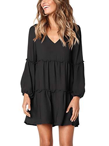 Womens Fall Dress V Neck Solid Color Casual Tunic Midi A Line Cute Swing Black S