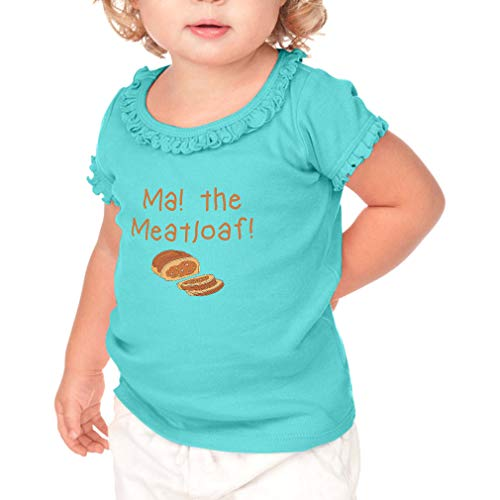 Ma! The Meatloaf Short Sleeve Toddler Cotton Ruffle Top Tee Sunflower - Caribbean Blue, 24 Months