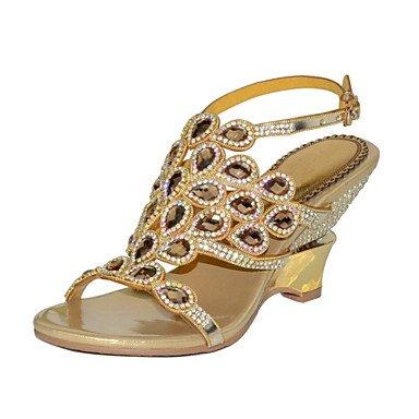 SANMULYH  Damenschuhe Polyurethan Frühling Sommer Mode Mode Sommer Stiefel Sandalen Open Toe Strass Kristall Funkelnden Glitter Schnalle Kette Für Party & Gold bf8edc