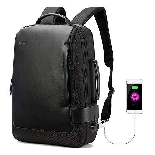 Bopai Business 15.6 inch Laptop Backpack Intelligent Increase Compartment Invisible Anti-Theft Laptop Rucksack USB Charging and Water Resistant College Travel Men Backpack, Black … - Backpack Leather Tech