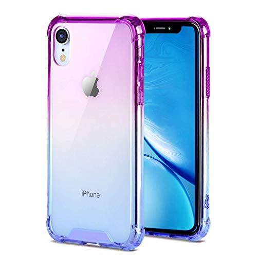 Ultra Hybrid Designed for Apple iPhone XR Case (2018), Supachis Shock-Absorption Bumper Cover, Anti-Scratch HD Clear - Gradient Blue & Purple