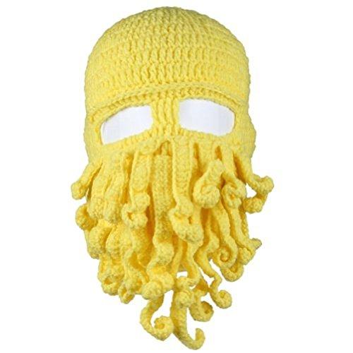 LOCOMO Tentacle Octopus Cthulhu Knit Beanie Hat Cap Wind Ski Mask FFH135DBLU (Yellow)