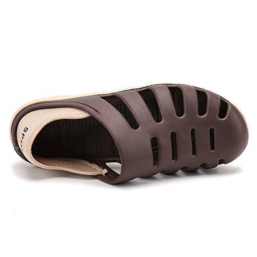 SCIEU Men's Summer Breathable Sandals Clogs Mules Quick-Dry Garden Beach Shoes Non-Slip Slipper Brown f3yvatnV