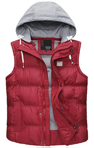 Buynow Men's Winter Cotton Stand Collar Vest With Hood Re...