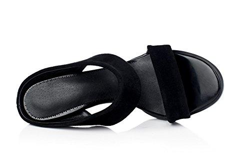 Amoonyfashion Femmes Bout Ouvert Bout Ouvert Talons Hauts Imitation Daim Sandales Noires