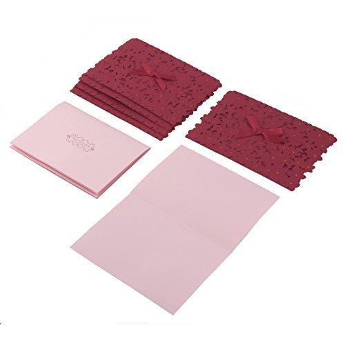 e Papel banquetes Hollw fuera diseña la tarjeta de invitación de la Cena 5 conjuntos Rojo ()