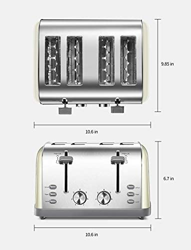 4 Slice toaster, Retro Bagel Toaster Toaster with 7 Bread Shade Settings, 4 Extra Wide Slots, Defrost/Bagel/Cancel Function, Removable Crumb Tray, Stainless Steel Toaster via Yabano, Yellow