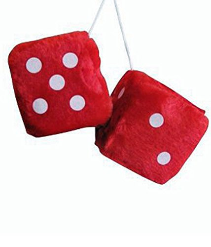[Red Fuzzy Car Dice - Good Luck Charm Fuzzy Dice In Red For Car] (Luck Dice)
