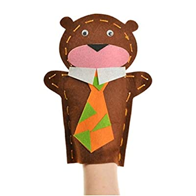 WEILYDF Cute Hand Puppet Bear Glove Doll Storytelling Prop Early Educational Animal Doll Puppet Toy Gift for Children: Home & Kitchen