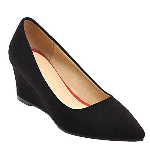 Carolbar Women's Solid Color Concise Mid Heel Wedge Pointed Toe Court Shoes Black-6cm GCaT4VvE5