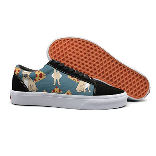 VCERTHDF Print Trendy Pug Dog Pizza Low Top Canvas Sneakers (Pizza Toothpaste)
