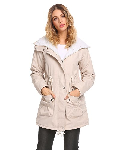 Elesol Women Faux Fur Lined Military Safari Utility Fashion Parka Jacket Khaki (Fleece Lined Anorak)