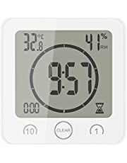 Konesky Digital Shower Wall Clock with Timer Temperature Humidity Monitor, Waterproof Bathroom Clocks for Water Spray, with Suction Cup Hanging Hole Shelf Stand