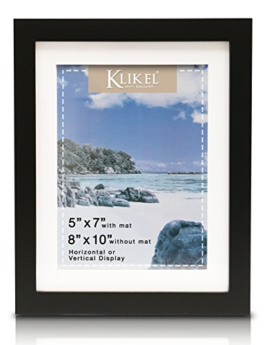 Klikel 5 X 7 Matted Black Picture Frame (8 X 10 Without Mat) - Solid Wood Wall Hanging and Table Standing Picture Frame