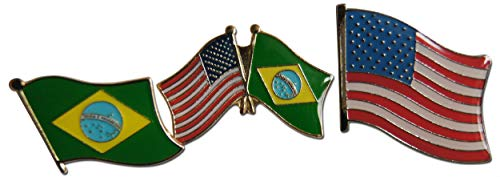 Novel Merk Patriotic Brazil & America Friendship Flag Lapel Pin or Hat Pin and Tie Tack Set with Clutch Back