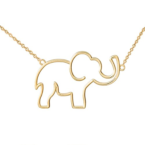 Exquisite Cut-Out Elephant Charm Pendant Necklace in 14k Yellow Gold, 18