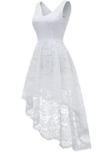 Dress Lace Neck V Party Formal Lo Sleeveless Cocktail Women's MUADRESS Dress White Hi Pqp66Y